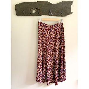 Vintage Eddie Bauer purple fall leaves maxi skirt